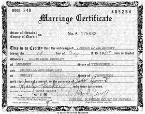 Las Vegas Marriage Certificate